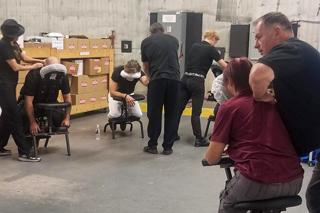 Team working on set